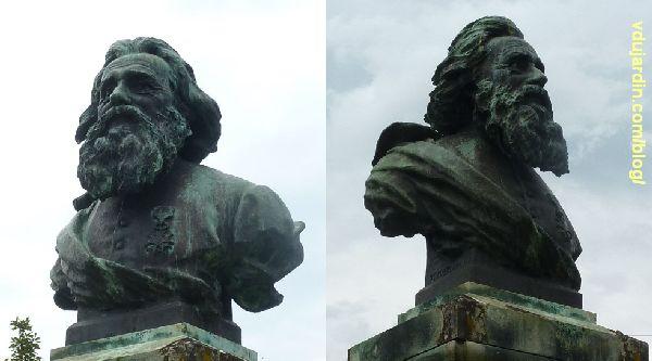 Le monument au père de la Croix, parc de l'hypogée des dunes à Poitiers, de face et de trois quarts