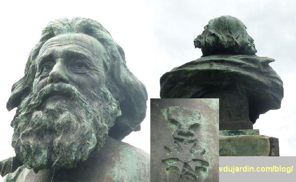 Le monument au père de la Croix, parc de l'hypogée des dunes à Poitiers, détail de face, de dos et décoration