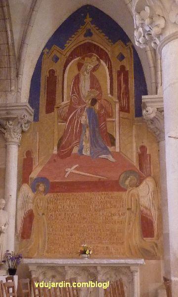 Poitiers, église Sainte-Thérèse, transept nord, mur est, peinture de Marie Baranger, consacrée à Jeanne d'Arc