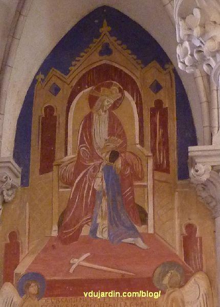 Poitiers, église Sainte-Thérèse, transept nord, mur est, peinture de Marie Baranger, couronnement de Jeanne d'Arc