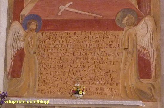 Poitiers, église Sainte-Thérèse, transept nord, mur est, peinture de Marie Baranger, texte rapporté à Jeanne d'Arc