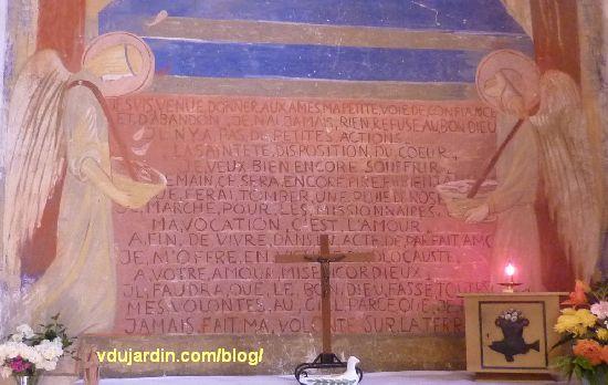 Poitiers, église Sainte-Thérèse, transept sud, mur est, peinture de Marie Baranger, détail du texte