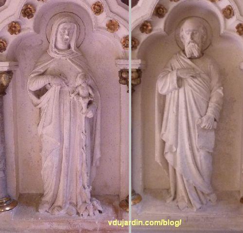 Poitiers, église Sainte-Thérèse, autel sud des ateliers de Saint-Hilaire, Vierge à l'Enfant et saint Joseph