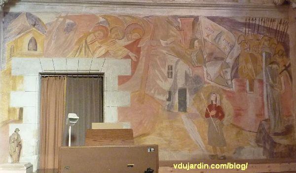Poitiers, église Sainte-Thérèse, peinture de Marie Baranger sur le mur nord du transept, vue générale
