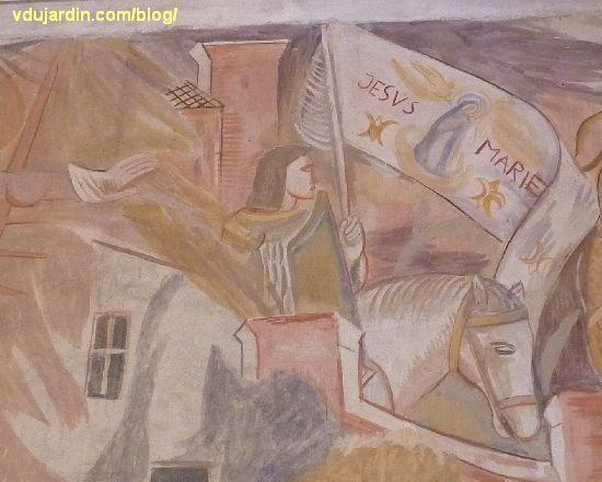 Poitiers, église Sainte-Thérèse, peinture de Marie Baranger sur le mur nord du transept, Jeanne d'Arc à cheval