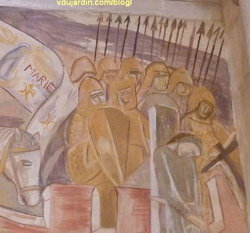 Poitiers, église Sainte-Thérèse, peinture de Marie Baranger sur le mur nord du transept, des soldats armés gardent une condamnée