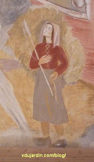 Poitiers, église Sainte-Thérèse, peinture de Marie Baranger sur le mur nord du transept, fileuse