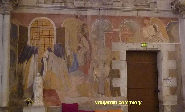 Poitiers, église Sainte-Thérèse, transept sud, mur est, peinture de Marie Baranger, consacrée à sainte Thérèse et Vierge à l'Enfant
