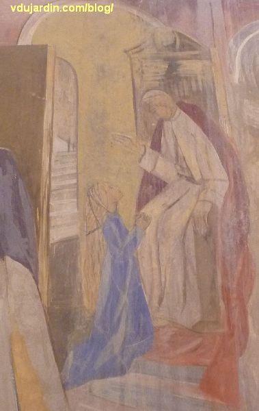 Poitiers, église Sainte-Thérèse, transept sud, mur est, peinture de Marie Baranger, sainte Thérèse bénite par la Vierge