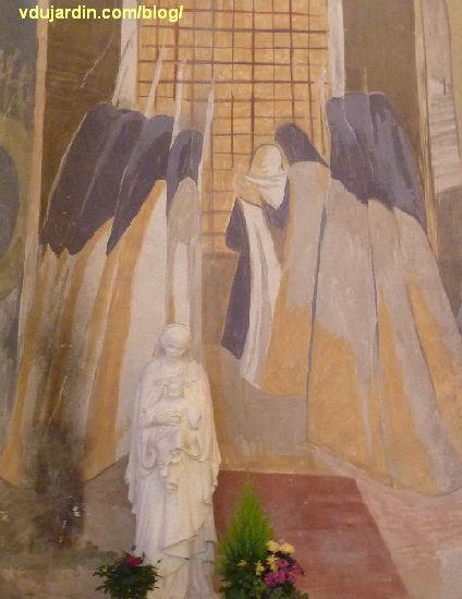 Poitiers, église Sainte-Thérèse, peinture de Marie Baranger sur le mur sud du transept, procession