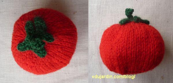 Une tomate au tricot, vue de dessus et de profil