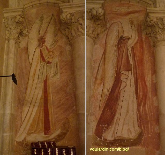 Poitiers, église Sainte-Thérèse, mur ouest, peintures de Marie Baranger, un ange et la sagesse