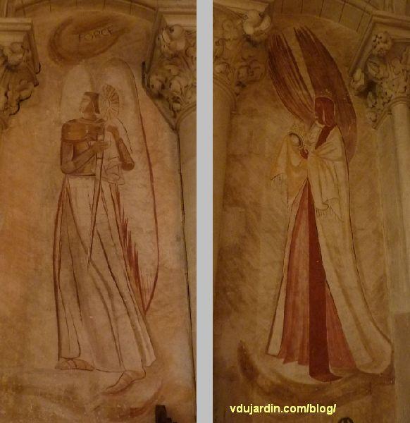 Poitiers, église Sainte-Thérèse, mur ouest, peintures de Marie Baranger, la force et un ange
