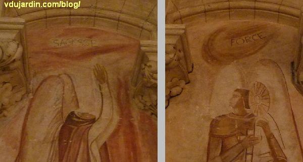 Poitiers, église Sainte-Thérèse, mur ouest, peintures de Marie Baranger, détail de la sagesse et de la force