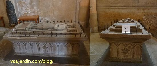 cénotaphe de Guy Geoffroy Guillaume dans l'église Saint-Jean-de-Montinerneuf à Poitiers, deux vues, de côté et depuis les pieds
