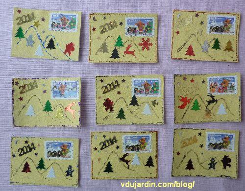 ATC de noël 2013, série jaune avec des timbres en remploi