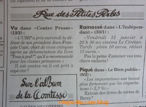Canard enchaîné, petites perles, édition du 19 février 2014 avec reprise de Centre presse