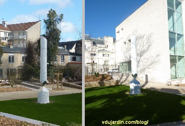 Jardin du Puygarreau à Poitiers, obélisque brisé de Didier Marcel