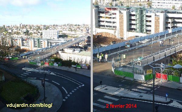 Viaduc des Rocs à Poitiers, marcheurs le 2 février 2014