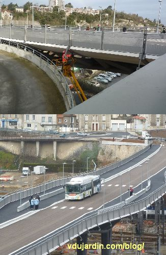 Viaduc des Rocs à Poitiers, ouvriers encore au travail et absence d'abribus