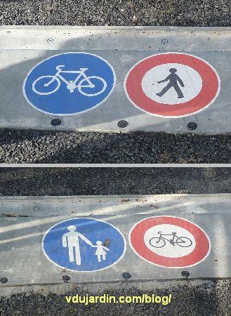 Viaduc des Rocs à Poitiers, signalisation piéton vélo