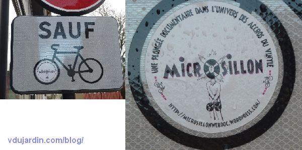 Un panneau interdit aux vélos avec un autocollant détourné
