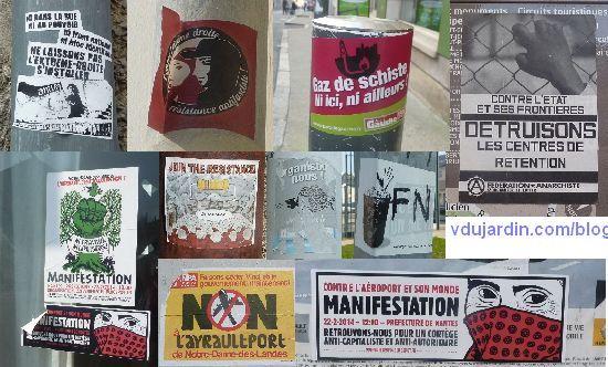 Messages politiques sur du mobilier urbain, montages de photographies prises entre octobre 2013 et mars 2014