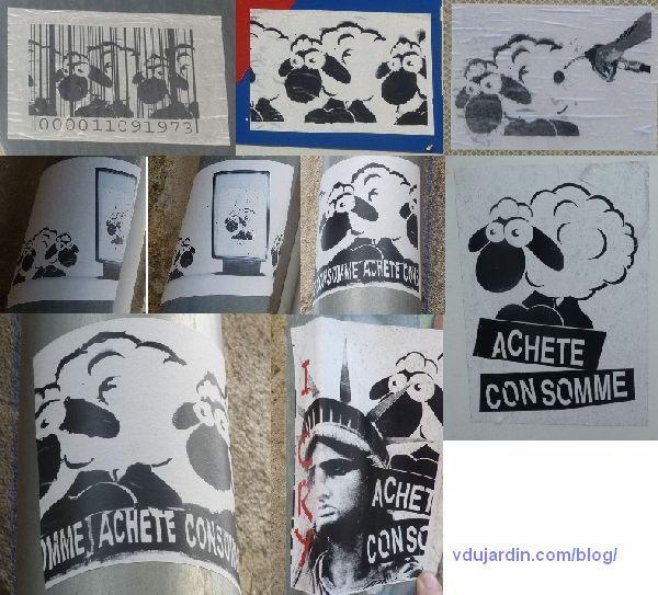 Moutons sur des gouttières à Poitiers, avec un message anti-consommation