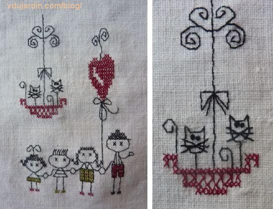 Torchon pour Nans-sous-Sainte-Anne 2014, enfants et chats