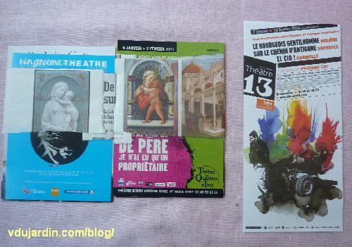 Carte à publicités envoyées par Capucine en janvier 2014, avec bandes illustrées de Vierge à l'Enfant