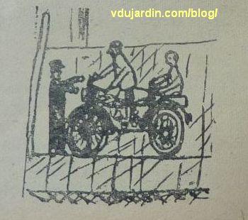revue Enfantines, n° 67, halte à la Douane à Mouchin, illustration page 16, une mobylette, deux fraudeurs et un douanier
