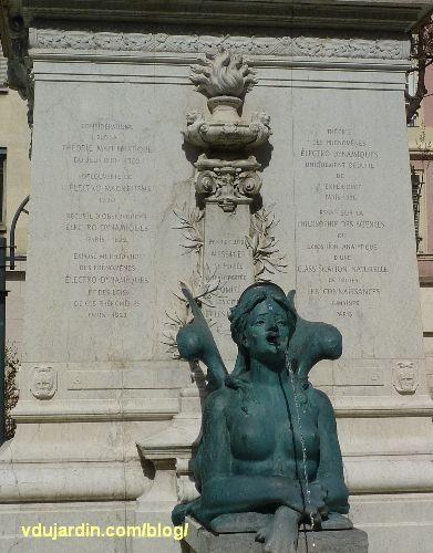 Lyon, le monument à Ampère, inscription avec bibliographie d'Ampère