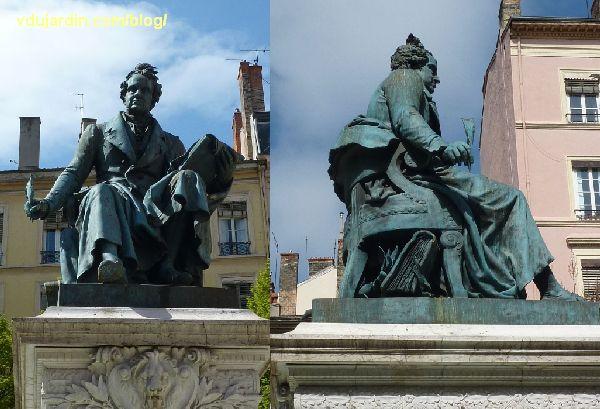 Lyon, le monument à Ampère, vue de la statue de face et de profil droit, Ampère assis et écrivant, livre sous le fauteuil