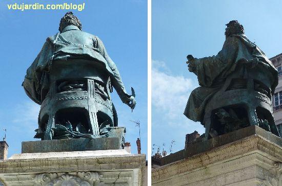 Lyon, le monument à Ampère, vue de dos et de profil avec rameaux sous le siège