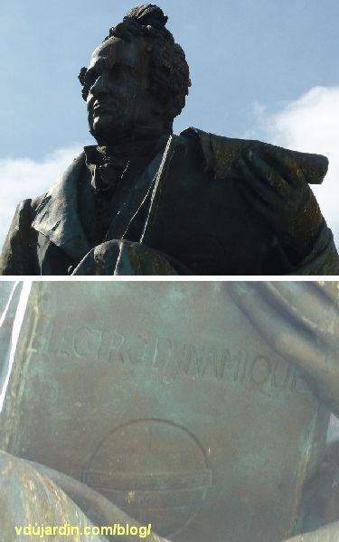 Lyon, le monument à Ampère, détail du buste et du livre avec l'inscription électrodynamique