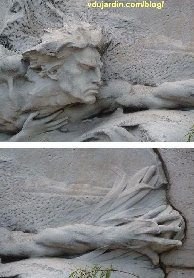 Le Rhône et la Saône de Vermare devant la bourse de Lyon, détails de la tête et du bras gauche du Rhône