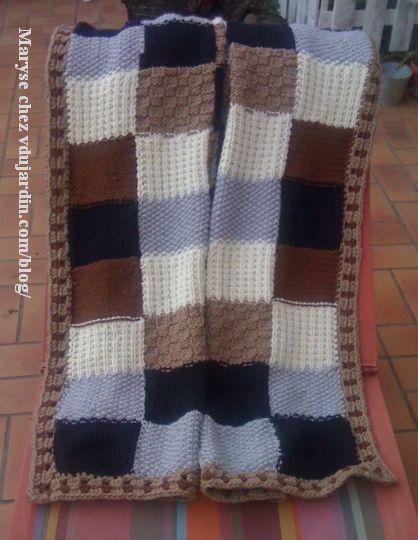 Plaid au tricot de Maryse, vue générale