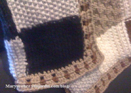 Plaid au tricot de Maryse, détail