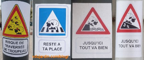 Moutons sur des gouttières à Poitiers, série de quatre panneaux routiers détournés