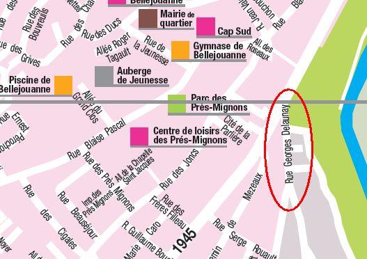 Poitiers, plan officiel de la ville, saisie d'écran avec la rue Delaunay