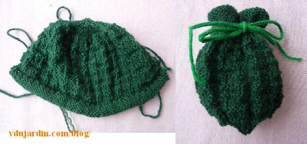 Tricoboule Capucine en laine verte, terminée