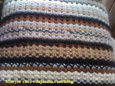 Coussin au tricot de Maryse, détail du point