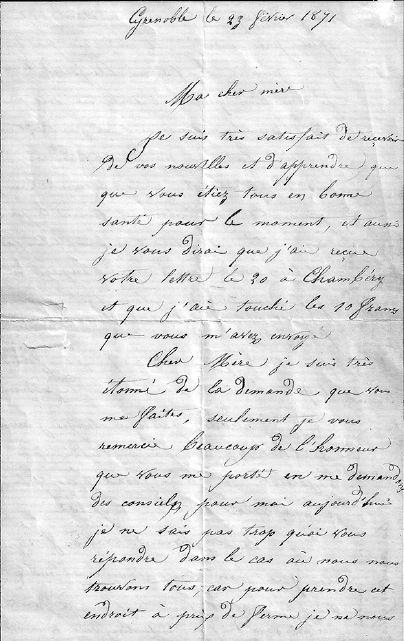 Lettre de Louis Poplineau, 1871, page 1