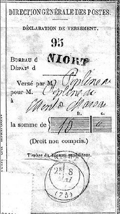Récépissé de mandat postal par Louis Poplineau en 1871