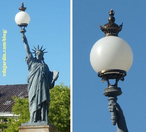 Statue de la Liberté de Poitiers, avec son nouveau globe, vue rapprochée