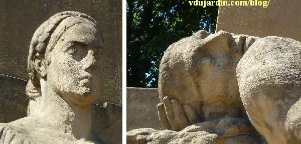 Metz, le monument aux morts de 1914-1918, détail des têtes de l'allégorie féminine et du soldat