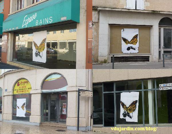 Poitiers, quatre moutons-papillons géants
