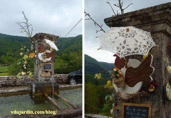 Nans-sous-Sainte-Anne 2014, fontaine décorée avec l'ombrelle, découverte et détail