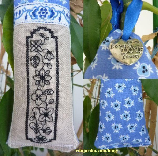 Pendouille fleurie bleue au blackwork de Lili HR, trois détails