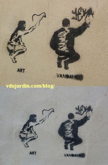 Pochoir sur l'art préhistorique et le vandalisme du street art, vu à Poitiers en mars 2013 et mars 2014